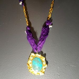 Royal purple Fabric Gold and Turquoise Necklace
